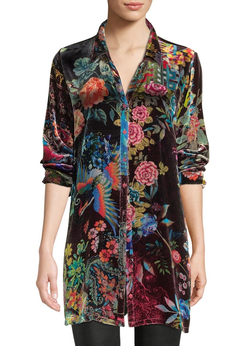 Johnny Was Plus Size Dream Floral-Print Velvet Easy Tunic