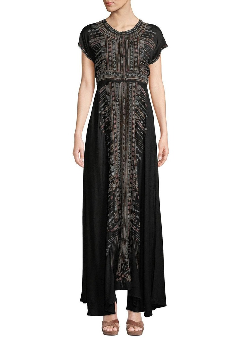Johnny Was Plus Size Effy Short-Sleeve Ikat-Embroidered Stretch Challis Maxi Dress