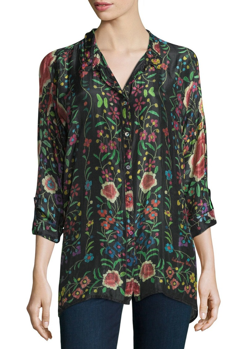 Johnny Was Plus Size Emby Button-Front Floral-Print Blouse  Black/Multi
