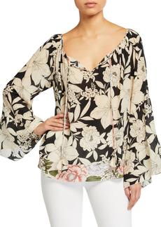 Johnny Was Plus Size Eva Floral Tiered-Sleeve Silk Blouse