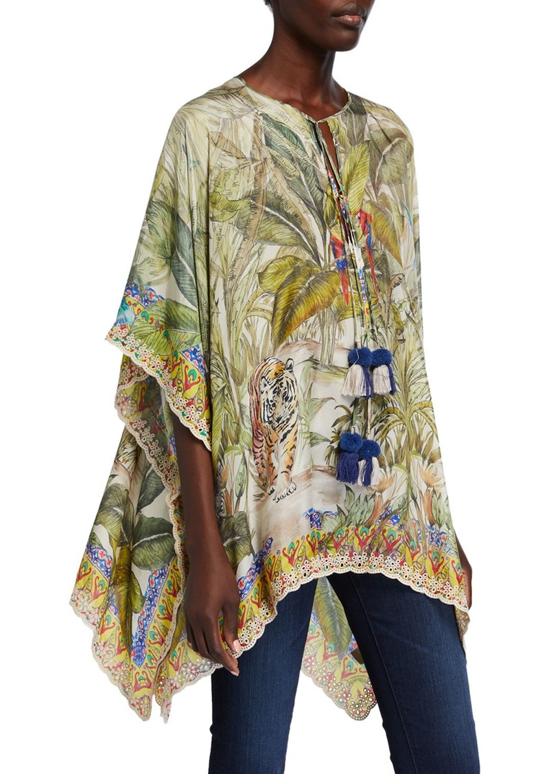 Johnny Was Plus Size Everglade Jungle Print Tassel-Neck Silk Top