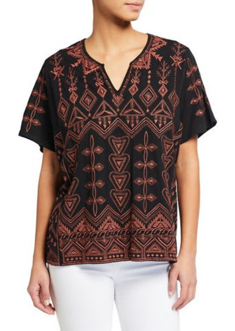 Johnny Was Plus Size Eyal Short-Sleeve Embroidered Boxy Tee