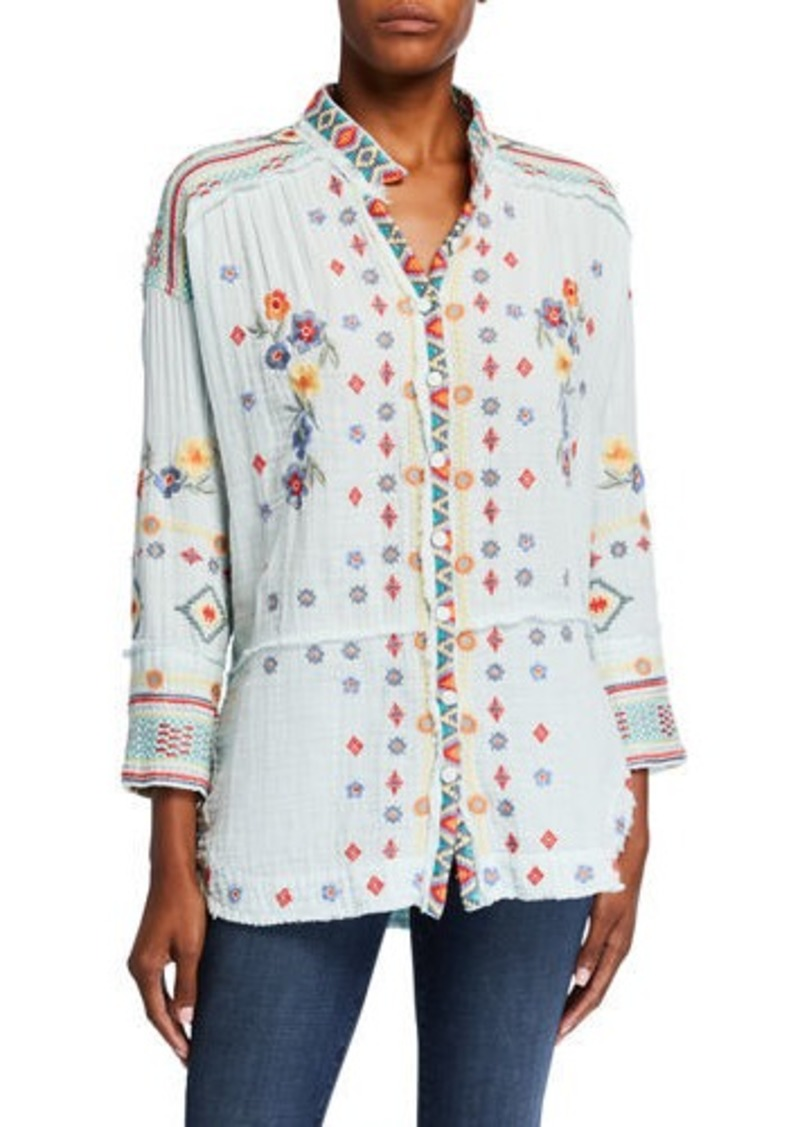 Johnny Was Plus Size Florence Embroidered Long-Sleeve Gauze Blouse