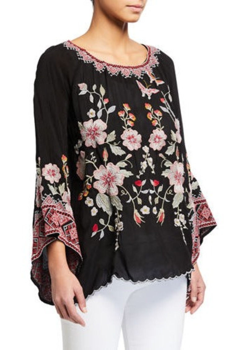 Johnny Was Plus Size Grace Embroidered Flare-Sleeve Top