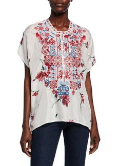 Johnny Was Plus Size Idalina Printed Button-Front Short-Sleeve Embroidered Silk Top