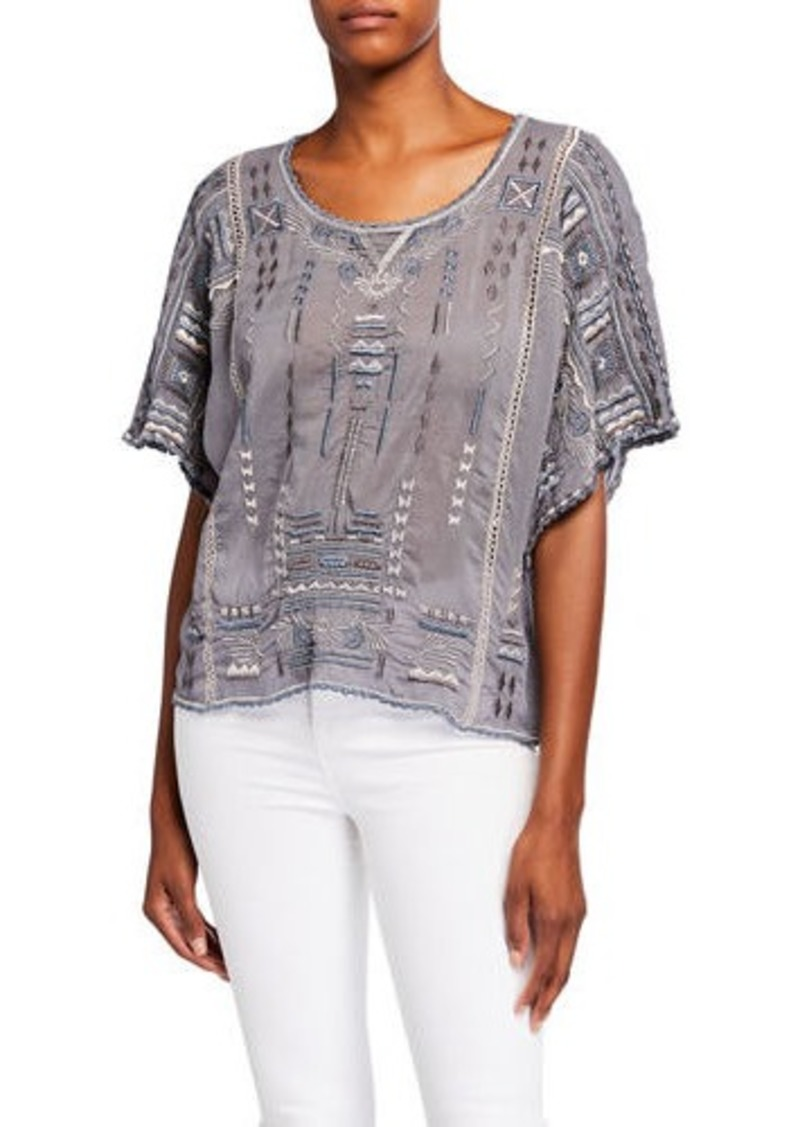 Johnny Was Plus Size Jurnee Embroidered Elbow-Sleeve Crop Top