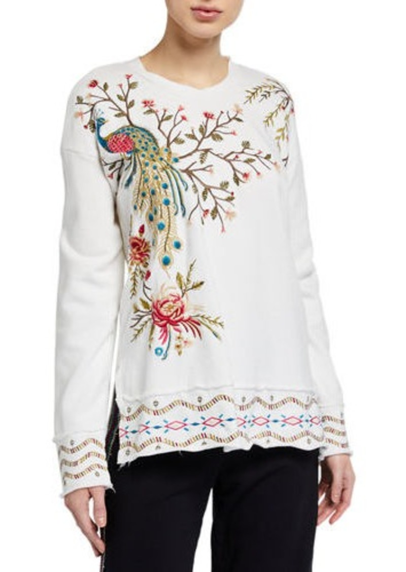 Johnny Was Plus Size Kaira Embroidered High-Low Pullover Sweatshirt