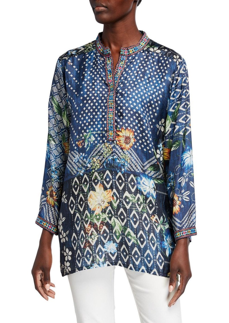 Johnny Was Plus Size Knack Printed Long-Sleeve Tunic