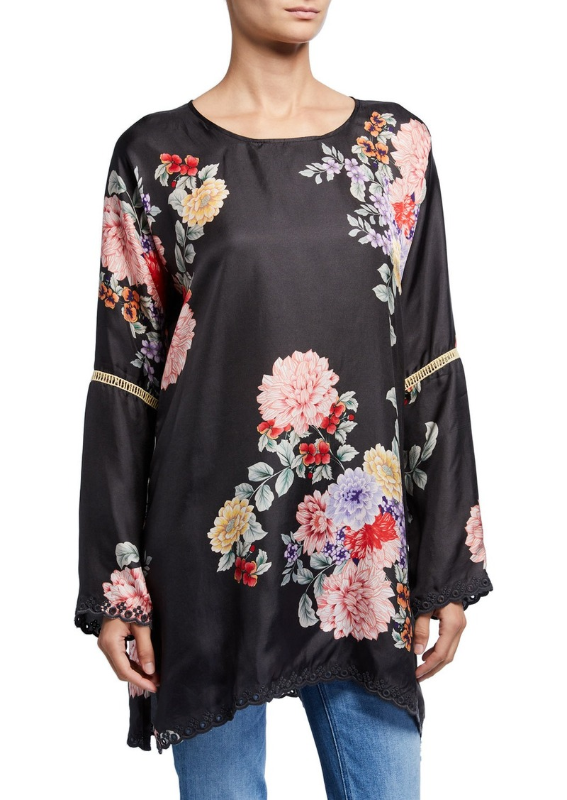 Johnny Was Plus Size Linden Floral Long-Sleeve Silk Top