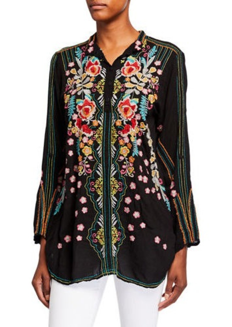 Johnny Was Plus Size Lyndsey Multi Embroidered Long-Sleeve Collared Tunic