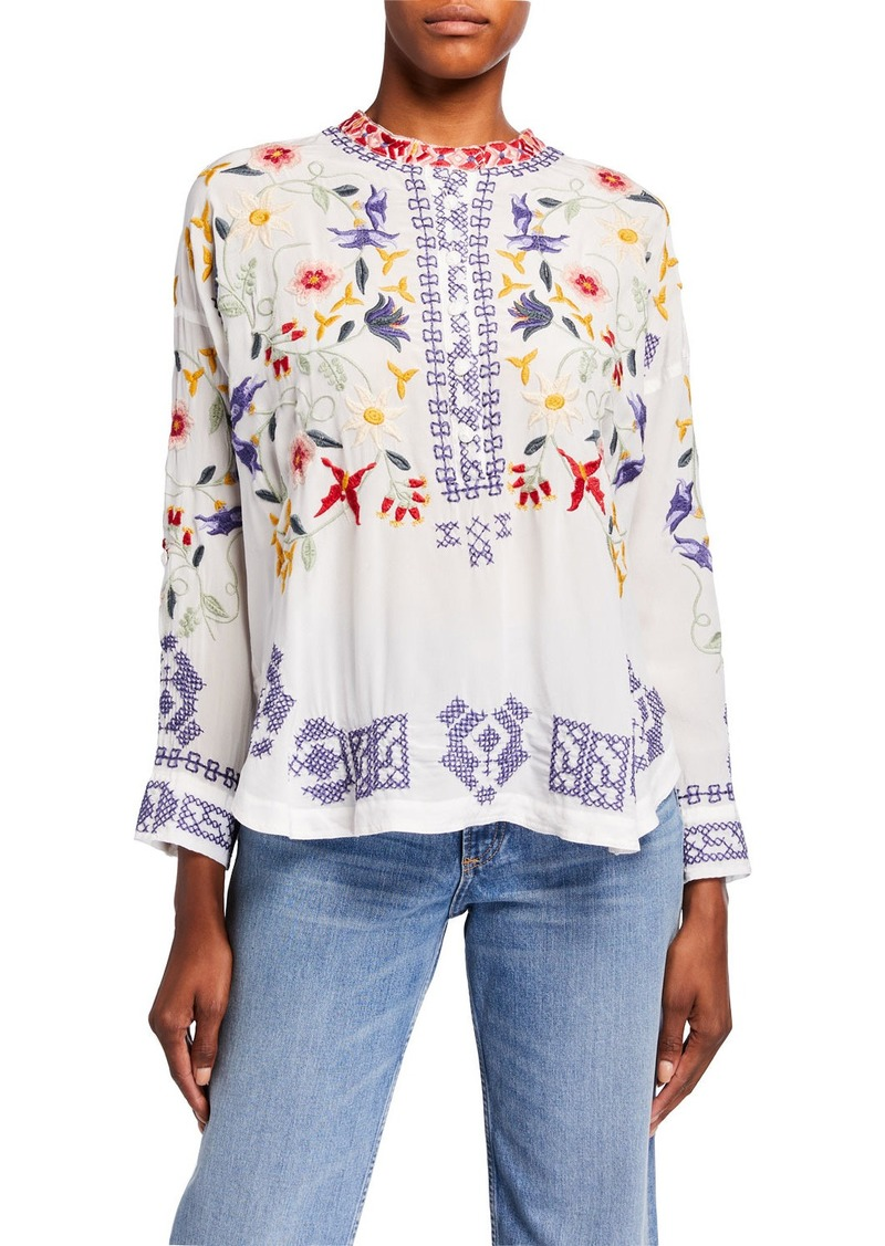 Johnny Was Plus Size Mariposa Embroidered Button-Placket Silk Blouse