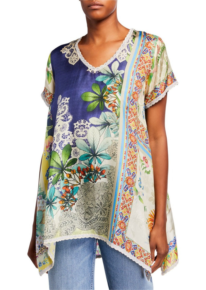 Johnny Was Plus Size Marron Printed V-Neck Short-Sleeve Silk Tunic