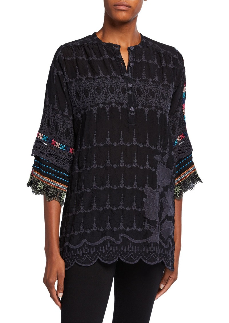 Johnny Was Plus Size Mayu Button-Neck Tunic with Embroidered Sleeves