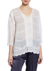 Johnny Was Plus Size Miliana V-Neck Georgette Tunic w/ Daisy-Embroidered Back