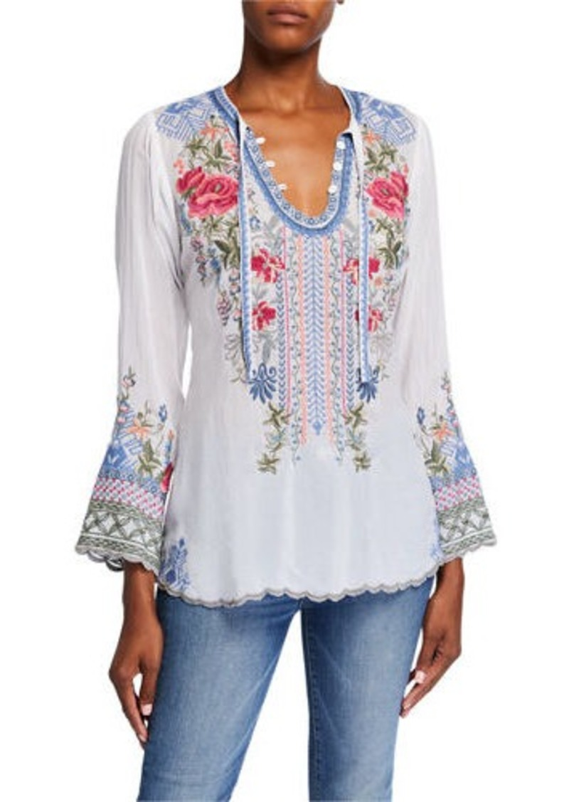 Johnny Was Plus Size Millie Embroidered Blouse