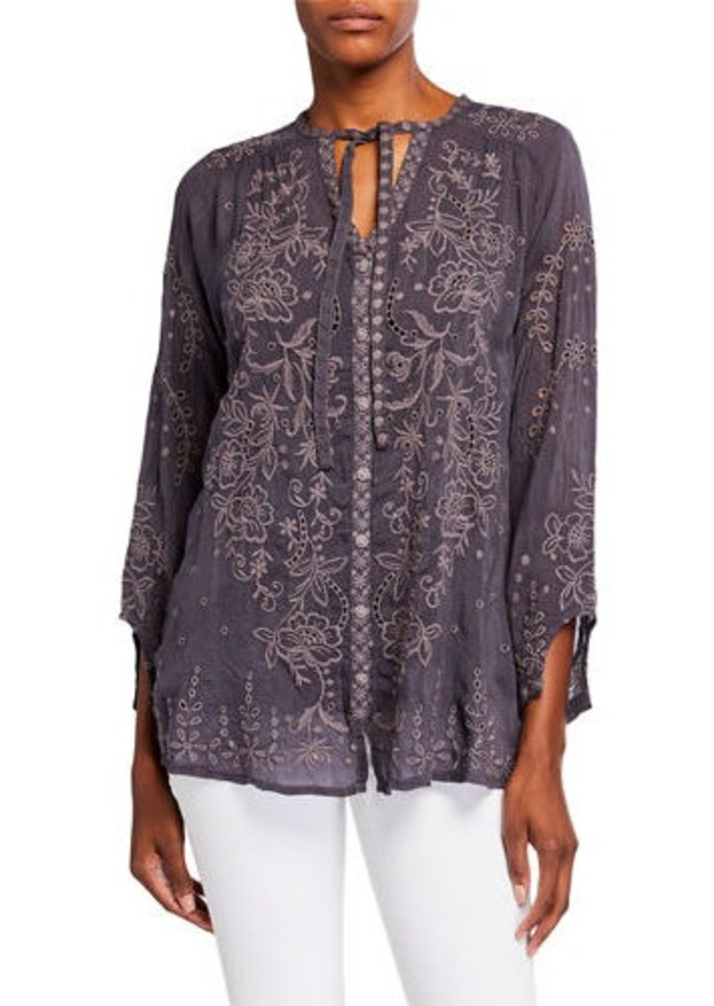 Johnny Was Plus Size Monroe Tonal Embroidered Button-Front Blouse