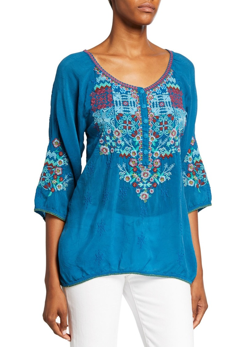 Johnny Was Plus Size Muna Embroidered 3/4-Sleeve Georgette Blouse