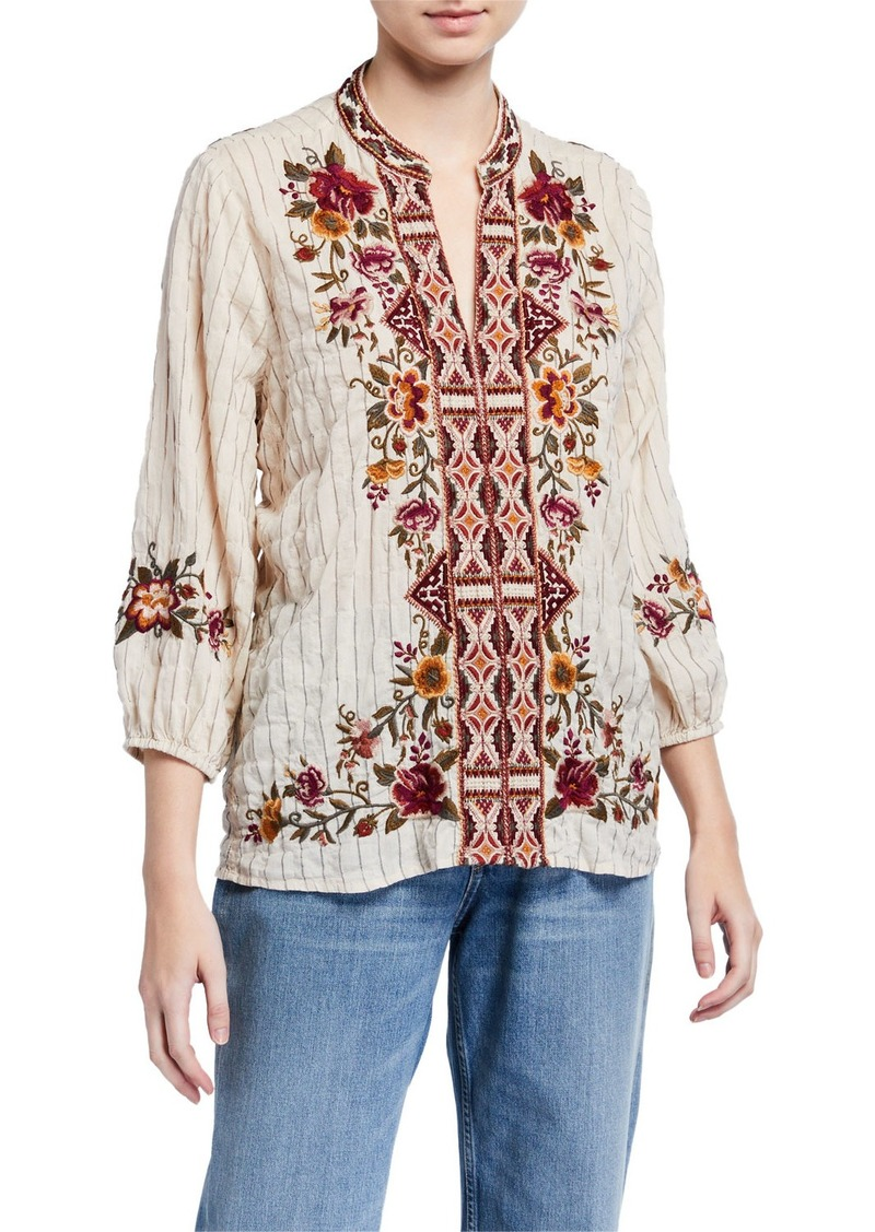 Johnny Was Plus Size Nepal Striped Effortless Swing Blouse with Embroidery