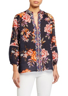 Johnny Was Plus Size Paris Effortless Floral-Print Embroidered Front Blouse