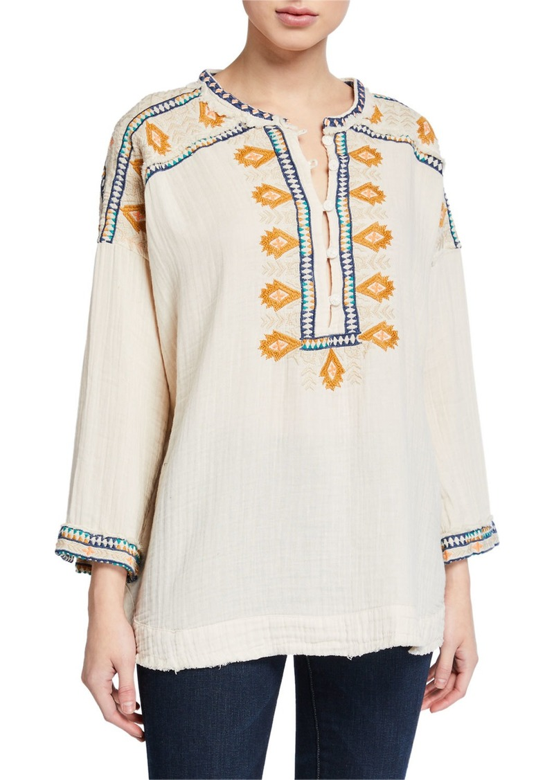 Johnny Was Plus Size Pillar Embroidered Long-Sleeve Gauze Blouse