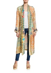 Johnny Was Plus Size Prima Printed Long-Sleeve Silk Twill Robe