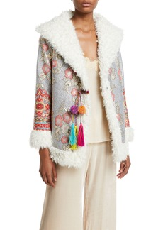 Johnny Was Plus Size Quarda Embroidered Faux-Fur Coat