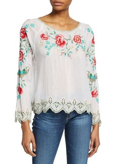 Johnny Was Plus Size Reena Floral Embroidered Long-Sleeve Scallop Hem Georgette Top