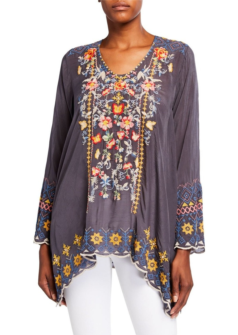 Johnny Was Plus Size Rosetta Multi Embroidered Long-Sleeve Tunic