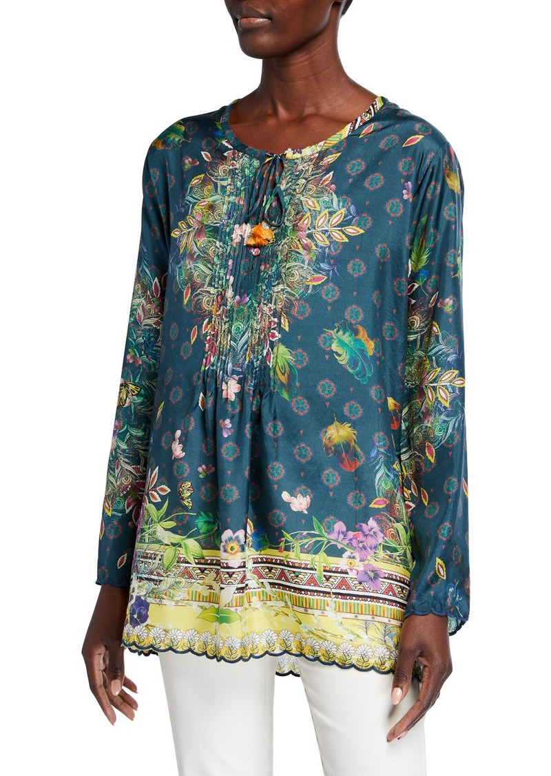 Johnny Was Plus Size Sami Printed Silk Pintuck Front Long-Sleeve Tunic