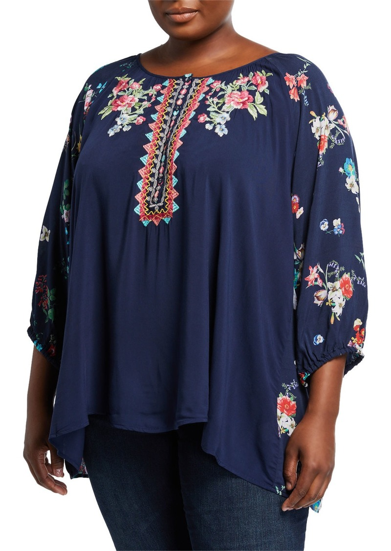 Johnny Was Plus Size Sheera Embroidered 3/4-Sleeve Challis Blouse w/ Floral Printed Back