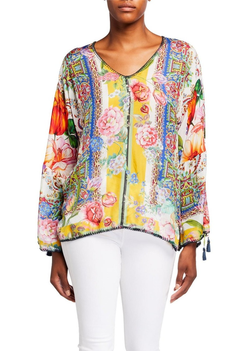 Johnny Was Plus Size Sorbet Printed V-Neck Long-Sleeve Blouse