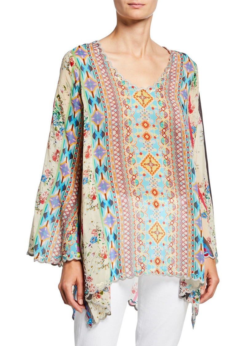 Johnny Was Plus Size Stella Printed Flare-Sleeve Rayon Georgette Blouse