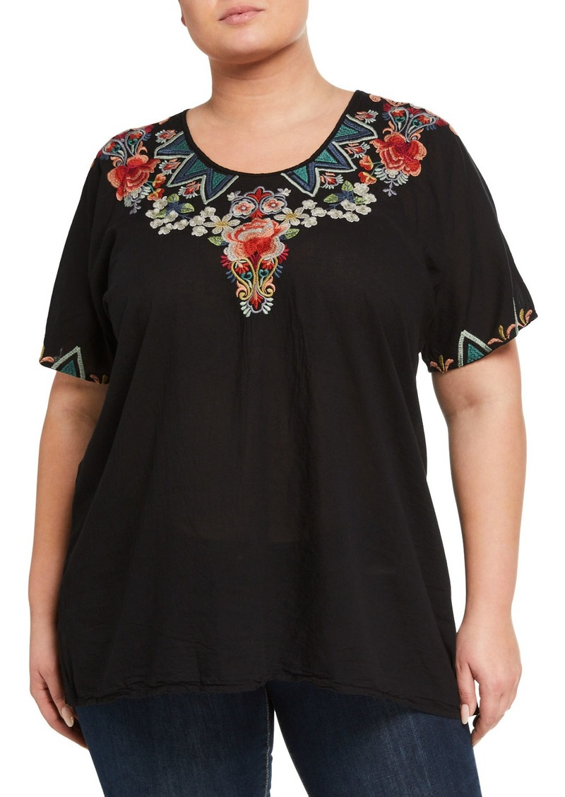 Johnny Was Plus Size Tamaya Tunic Cotton Voile