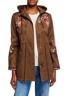 Johnny Was Plus Size Valentina Hooded Military Jacket w/ Embroidery