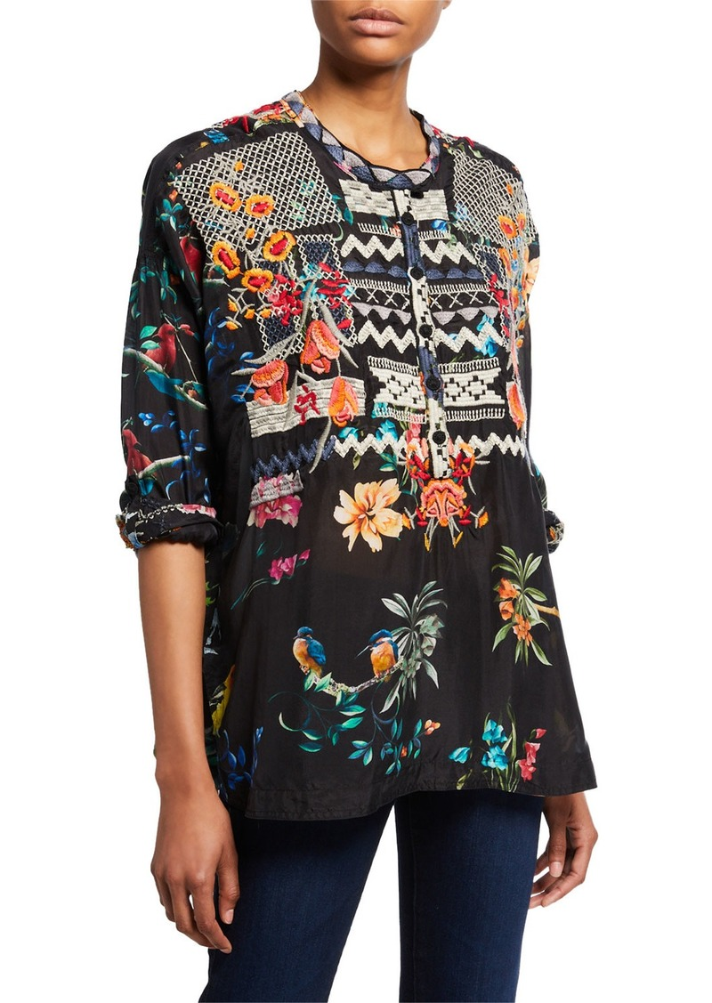 Johnny Was Plus Size Veda Silk-Print Blouse with Embroidery