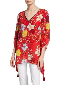 Johnny Was Plus Size Vega Floral-Print V-Neck Silk Tunic with Tassel Trim