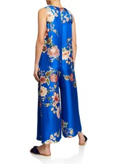 Johnny Was Plus Size Vivian Floral-Print Button-Front Sleeveless Silk Twill Jumpsuit