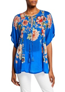 Johnny Was Plus Size Zadie Floral-Print Split-Neck Short-Sleeve Georgette Top