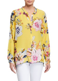 Johnny Was Poppy Floral-Print Button-Front Silk Blouse