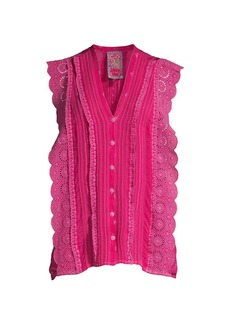 Johnny Was Priscilla Lace Embroidered Top