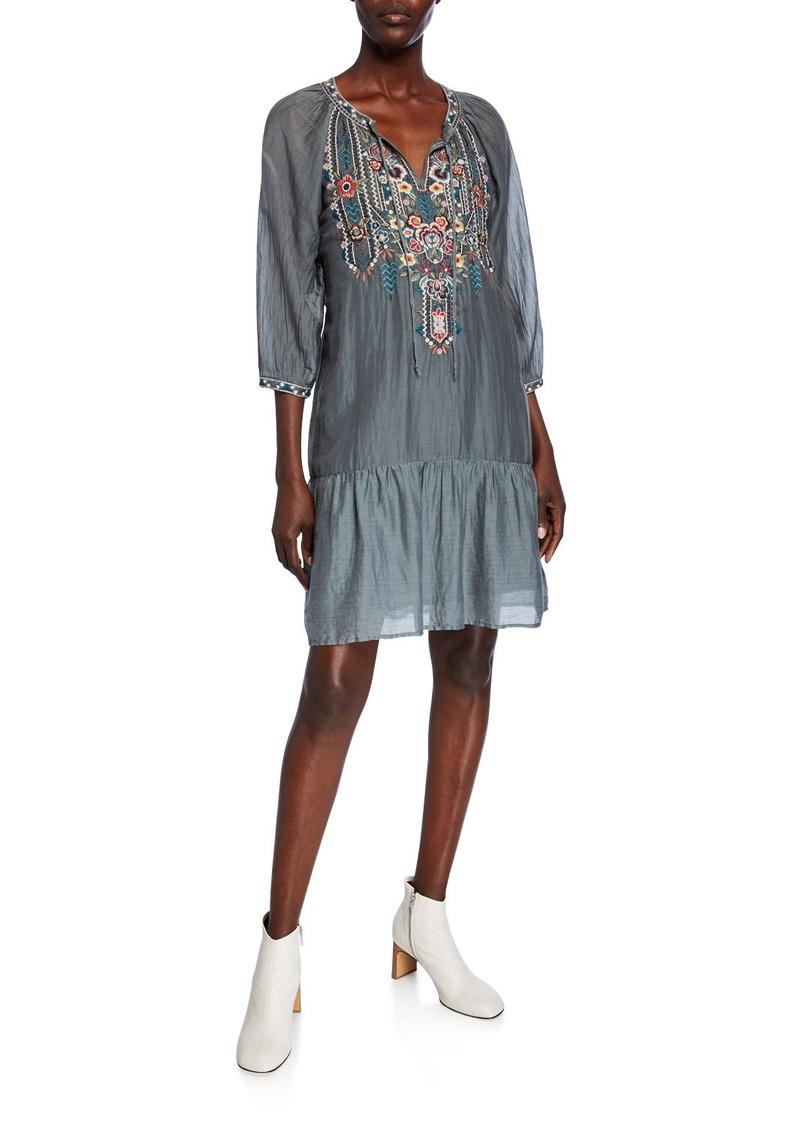 Johnny Was Raquel Embroidered Split-Neck Boho Flounce Dress