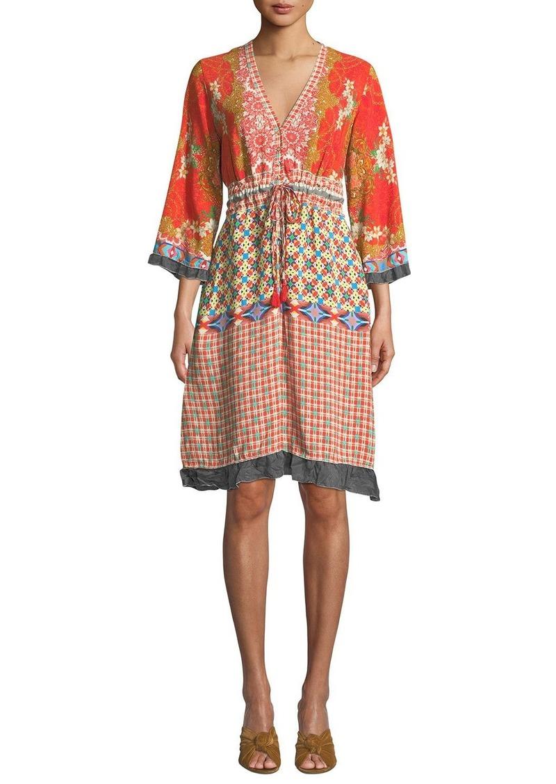 Johnny Was Rayne V-Neck 3/4-Sleeve Printed Crepe Dress w/ Drawstring-Waist
