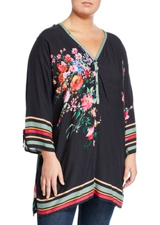 a7588b249ef Johnny Was Resort Rose-Print Tunic Blouse Plus Size