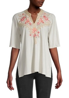 Johnny Was Rianne Floral Embroidery Elbow-Sleeve Top
