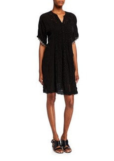 Johnny Was Riza Elbow-Sleeve Embroidered Shift Dress