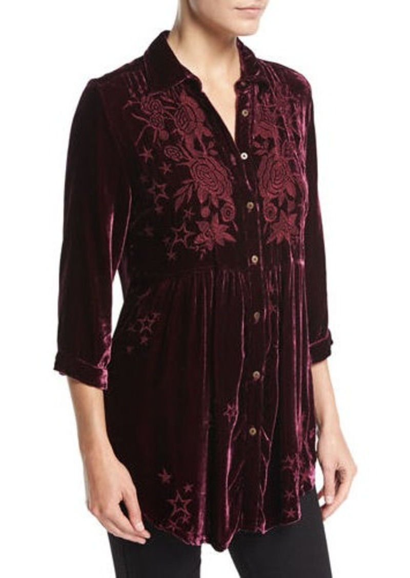 Johnny Was Petite Roberta Velvet Smocked Blouse