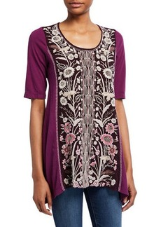 Johnny Was Rosa Woven-Panel Tunic