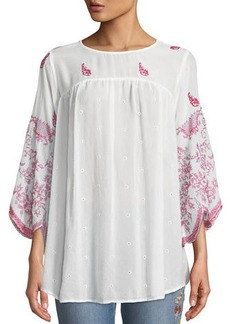 Johnny Was Rose-Stitch Georgette Blouse with Drama Sleeves