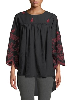 Johnny Was Rose-Stitch Voile Blouse with Drama Sleeves
