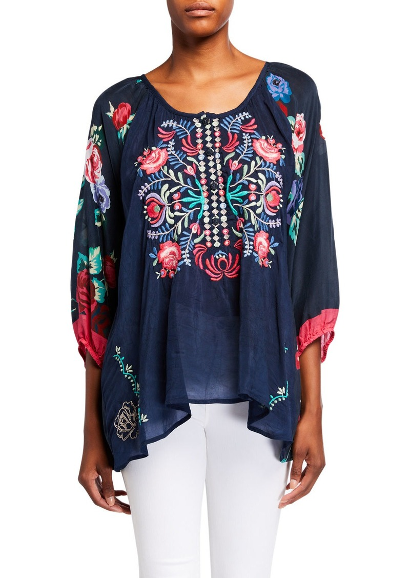 Johnny Was Rosey Embroidered Floral Print Blouse